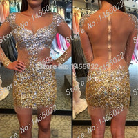 2016 New Arrival Sheath Sexy Short Prom Dresses Beading Gold Beaded Sheer See Through Crystal Sequin Long Sleeve Cocktail Dress