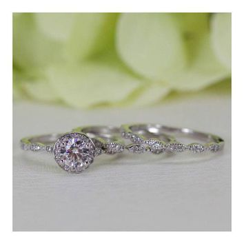 Halo Round Brilliant Cubic Zirconia Double Band Engagement Ring Set In Sterling Silver