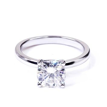 Intensely Brilliant Square Cushion Diamond Veneer Cubic Zirconia set Sterling Silver Solitaire Ring