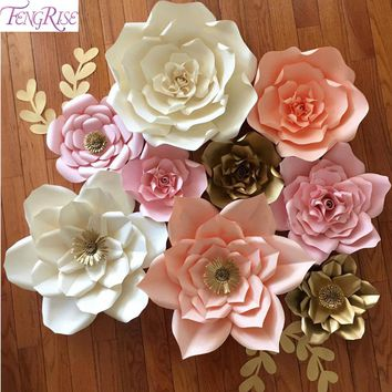FENGRISE 2pcs 20cm DIY Paper Flowers Kids Birthday Party Backdrop Decor Flower Wedding Party Hen Party Home Room Decor Supplies