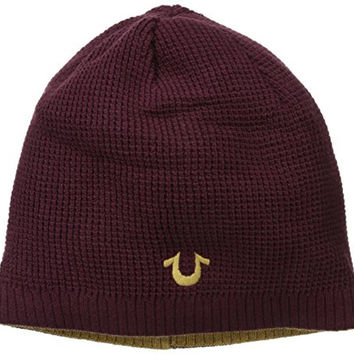 True Religion Men's Reversible Waffle-Knit Beanie, Vintage Ox Blood, One Size