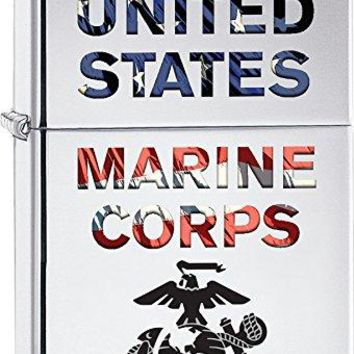 U.S. Marine Corps. Zippo Outdoor Indoor Windproof Lighter Free Custom Personalized Engraved Message Permanent Lifetime Engraving on Backside (Marine Corps)