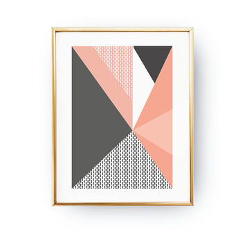 Textured Wall Art, Geometric Shapes, Abstract Poster, Simple Design, Pink Gray Artwork, Geometric Painting, Pastel Decor, Minimalist Poster