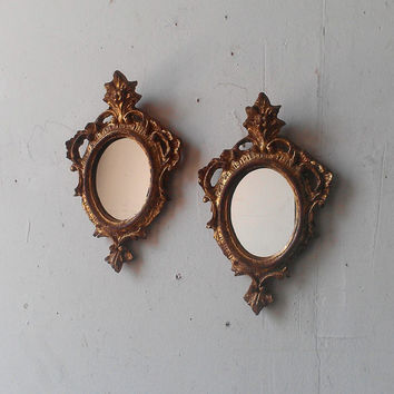 Gold Oval Mirror Set of Two in Small Vintage Regency Frames