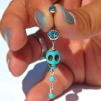 Turquoise Skull belly Button Navel with Turquoise Beads Navel Ring Body Jewelry