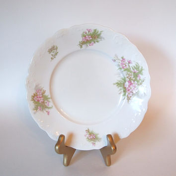 Antique Johnson Bros Royal Semi Porcelain Plate with Pink Flowers and Embossed Edges - England - Circa 1900