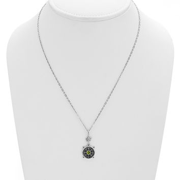 Dharmachakra Sterling Silver Peridot Grace Necklace