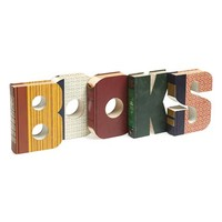 Second Nature By Hand 'Books - One of a Kind' Hand Carved Recycled Book Shelf Art - Brown