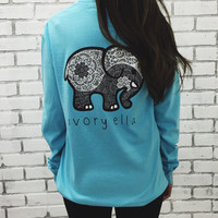 2016 Trending Fashion Women Sky Blue Ivory Ella Cartoon Elephant Printed Long Sleeve Top T-Shirt