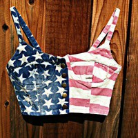 STARS & STRIPES SPANGLE DENIM CROP CORSET TOP