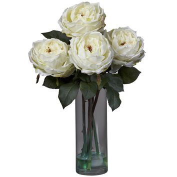 Silk Flowers -Fancy White Rose With Cylinder Vase Flower Arrangement