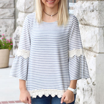 Forever Lace + Stripes Top {Ivory+Grey}