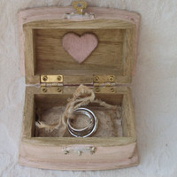 Beautiful Soft Blush Aged and Distressed Wedding Ring BOx with Victorian Skeleton Key  Heart Tea Dyed Lace and Muslin Ring Pillow