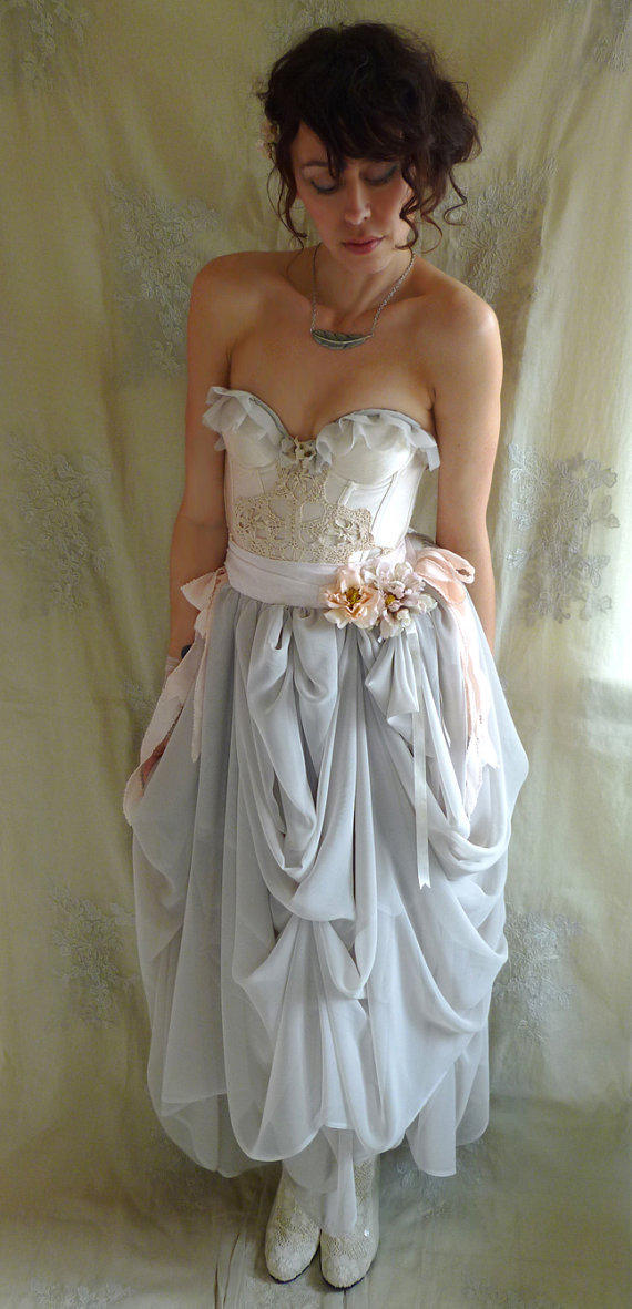 Trella whimsical bustier wedding dress or from jadadreaming on for Eco friendly wedding dresses