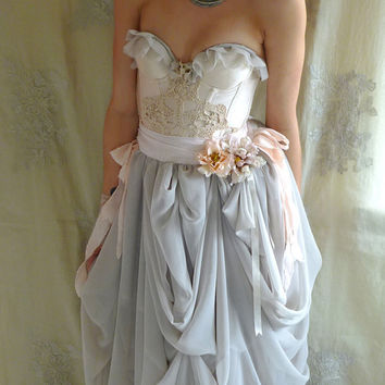 Trella Whimsical Bustier Wedding Dress or Formal Gown... Size S/M... eco friendly rococo fairy boho shabby chic alternative free people