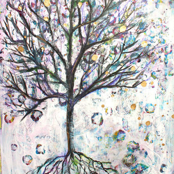 Mixed Media Tree, Tree Art, Tree Painting, Grunge Tree, Mixed Media Art, Tree of Life, Nature Art, Home Decor, Teen Decor, Print, 8x10