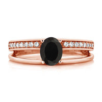 0.96 Ct Oval Black Onyx 18K Rose Gold Plated Silver Ring