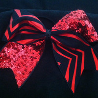 "3"", 3 inch cheer cheerleader bow-BLING red and black reversible zebra and red sequins"