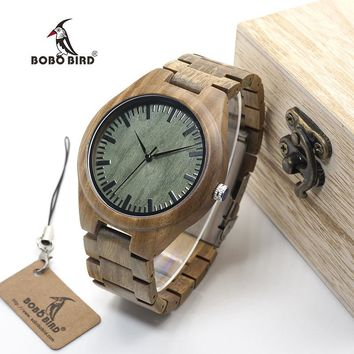 Millennial Handcrafted Wood Watch with Green Dial