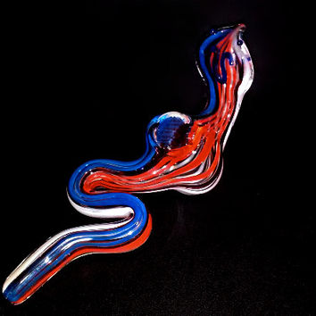 Glass 4th of July Corba Smoking Pipe - Red White and Blue America - *7-4 Sale* Celebrating the Fourth!!
