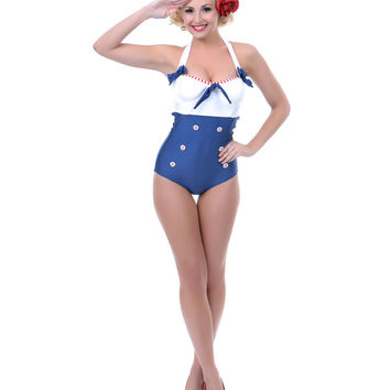 White & Navy Sammie Swimsuit - Unique Vintage - Prom dresses, retro dresses, retro swimsuits.
