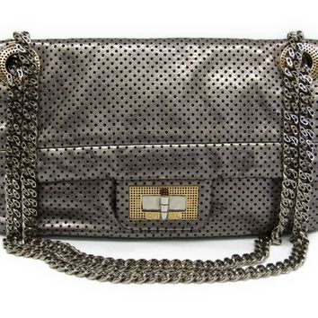Chanel 2.55 Women's Leather Shoulder Bag Silver BF311978
