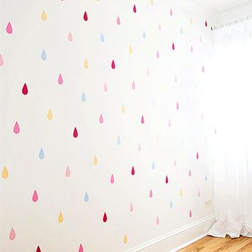 set of 30pcs multi color Raindrop Shaped Wall Decals,Nursery or Kid Room Decor Rain Drop Teardrop Wall Stickers,M2S1