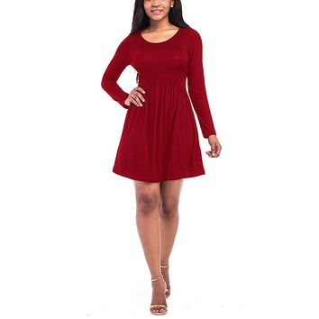 [14162] Women Long Sleeves Solid Color Dress