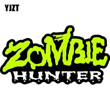 YJZT 14.5x7.8cm Fashion ZOMBIE Hunter Retro-reflective Car Stickers Funny Decals Car-styling C1-8095