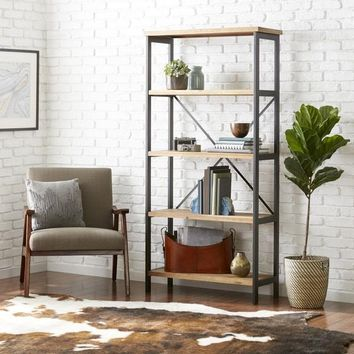 Perth 5-Shelf Industrial Bookcase by Christopher Knight Home - Free Shipping Today - Overstock.com - 18443573