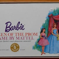 1963 Barbie Queen of the Prom Board Game by Mattel White Cover Very Good Condition