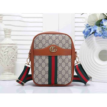 Gucci Trending Women Stylish Leather Red Green Stripe Shoulder Bag Crossbody Satchel Handbag Brown I-KSPJ-BBDL