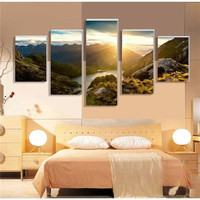 5 Piece Hot Sell Sunrise Modern Home Wall Decor Canvas Picture Art Hd Print Painting Set Of Each Canvas Arts Modular Pictures