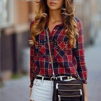 Fashion Pocket Red Plaid Long Sleeve Shirt Blouse Tops