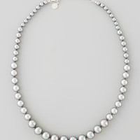 Graduated Simulated Pearl Necklace, Gray