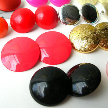 80s Earring Lot, Button Earring Destash, Craft Earrings, Pierced Earring, Clip on Earrings, 80s Earrings