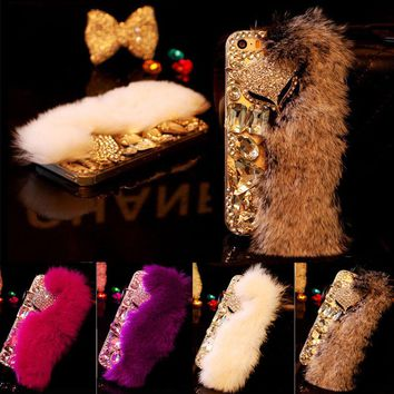 7 Luxury Fur Hair Phone Cases For iPhone 7 6 6s Plus Case Fashion DIY Bling Diamond Cartoon Fox Plush Hard PC Back Cover