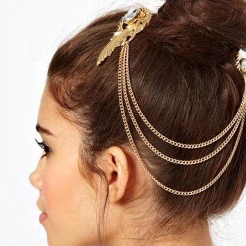 ONETOW Bird nest-shaped personality fashion gem tassel on the clip clip multi-layer hair ornaments