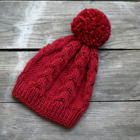Knit beanie hat in marsala red with pom pom, winter accessories