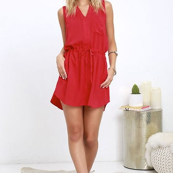 Ocean View Avenue Red Sleeveless Dress