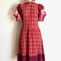 KENZO!!! Vintage 1970s/1980s 'Kenzo' mismatched fabric sundress with ruffled collar and puff sleeves / Made in France