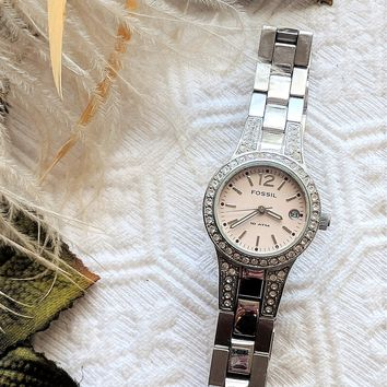 Fossil Women's Silver Stainless Steel Crystal 3 Hand Date Blush Quartz Watch