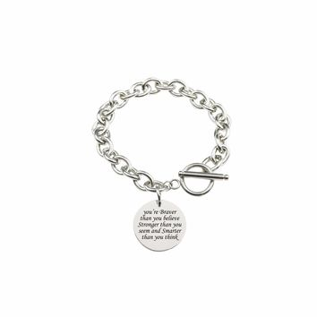 Solid Stainless Steel Inspirational Toggle Bracelet - You Are Braver