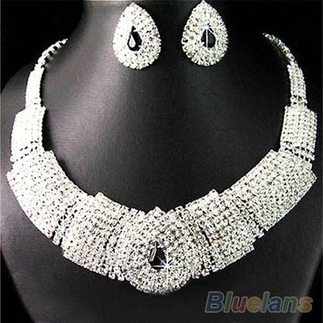 Wedding Party Bridal Black Diamante Crystal Necklace Earrings Set Jewelry Prom [7981075335]