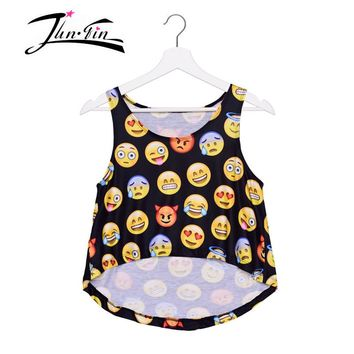 BLACK EMOJI printed tank top 2016 fashion alien summer  3d halter top women tank crochet bustier short   female Casual Tee Tops