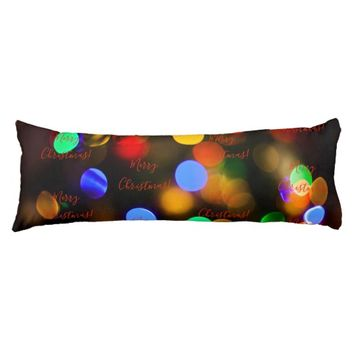 Multicolored Christmas lights. Add text or name. Body Pillow