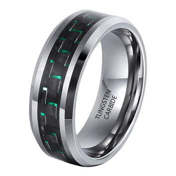 8mm Green Black Carbon Fiber Inlay Tungsten Ring Comfort Fit Wedding Band
