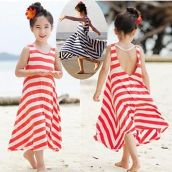 PEAPUG3 Fashion Girls Chevron Dresses Bohemian Next Baby Girls Kids cotton beach Dress children clothing summer autumn new 2013 Brand