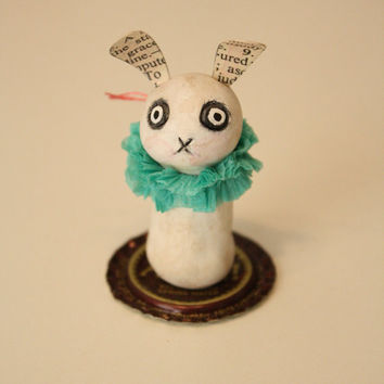 Tiny Folk Art Bunny Totem - Rabbit - Art Doll Figurine - StumBun Series - Handmade  - Clay - Bottle Cap - Teal
