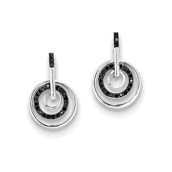 Black Diamond Triple Circle Dangle Post Earrings in Sterling Silver